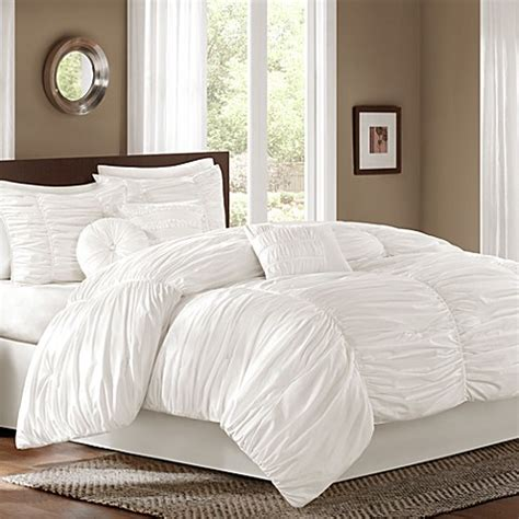 bed bath and beyond bedroom furniture sidney 6 7 piece comforter set in white bed bath beyond