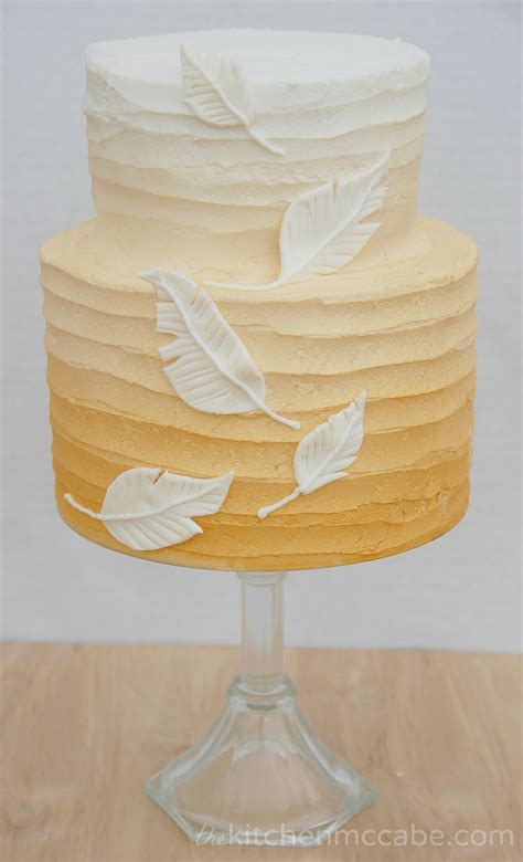 Gold Ombre Feather Birthday Cake   The Kitchen McCabe