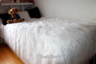 White Fur Comforter White Mongolian Faux Fur Bedspread Luxury King Queen Twin Size