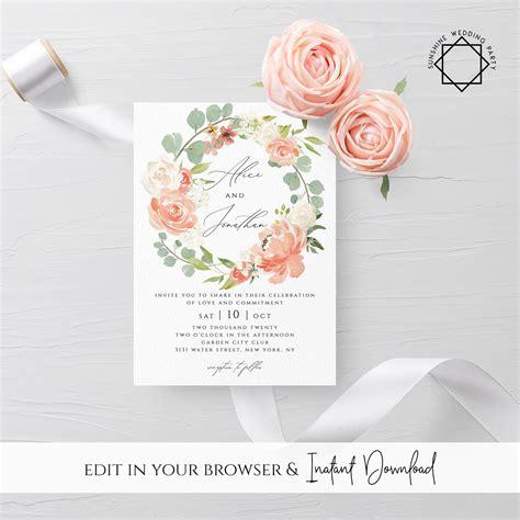 peach floral wedding invitation template printable