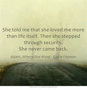 Security she never came back adam where she went gayle forman