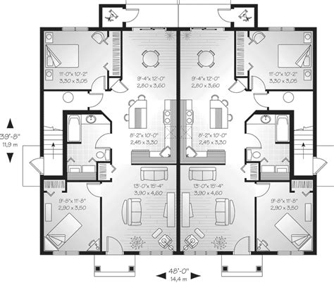 multifamily home plans lehigh multi family fourplex plan 032d 0591 house plans