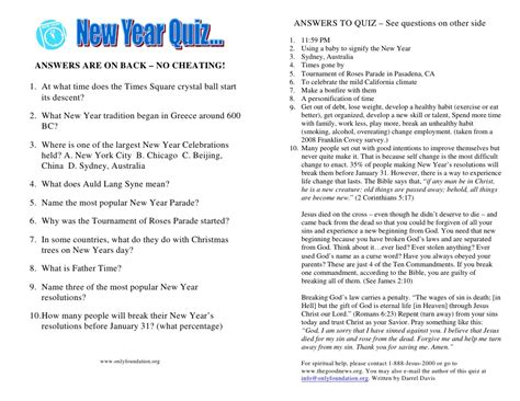 new year quiz tract