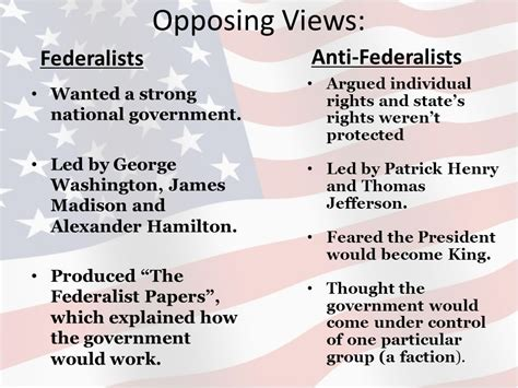 federalist and anti federalist venn diagram unit 1 constitutional underpinnings and federalism ppt