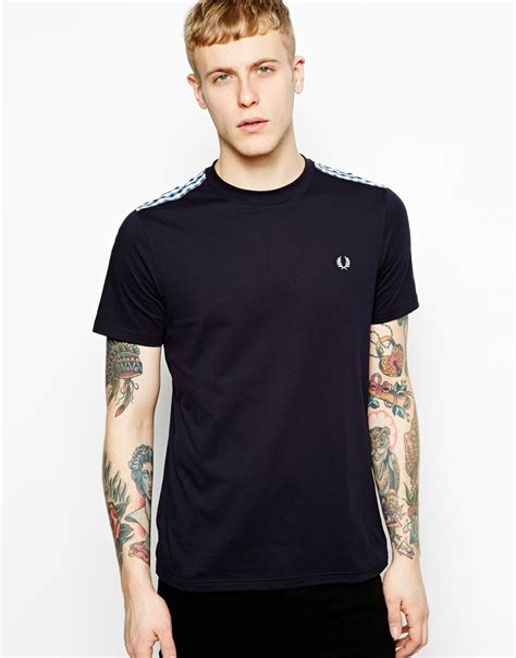 Tshirtt Shirt Badger 1 lyst fred perry tshirt with gingham shoulders in blue for