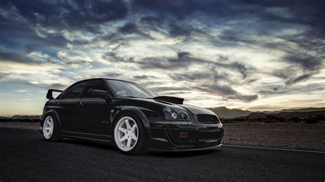 subaru coupe black download wallpaper 1600x900 subaru impreza wrx sti black