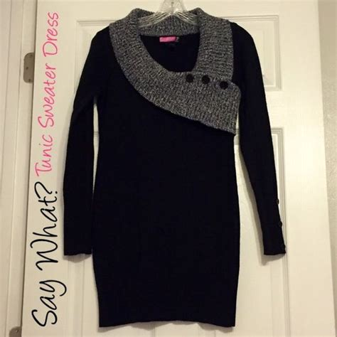 Sweater Amerika 23 Black sale black tunic sweater dress the buttons are just for decoration it s 23 inches from