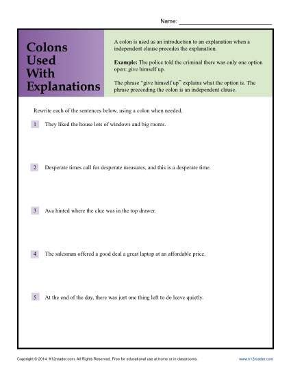 Semicolon And Colon Practice Worksheet by Colon Worksheet Worksheets Releaseboard Free Printable