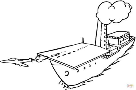 coloring page aircraft carrier jet is taking off from aircraft carrier coloring page