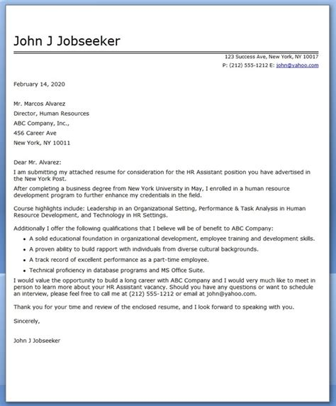 cover letter for graduate recent college graduate sle cover letter to