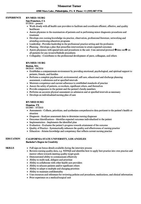 med surg nursing resume tgam cover letter
