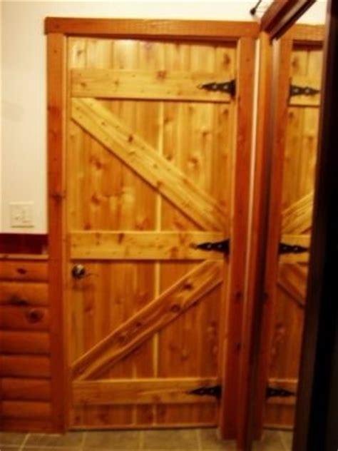 hand  custom interior pine cabin doors  drews