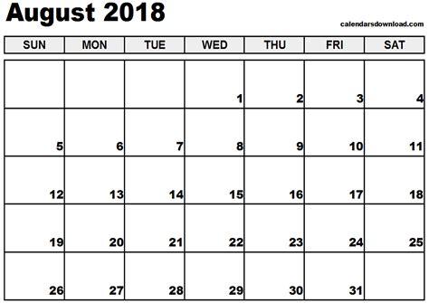 printable calendar august 2018 august 2018 calendar