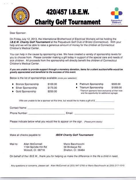 charity letter for sponsorship 7th annual ibew local 420 vs 457 charity golf tournament
