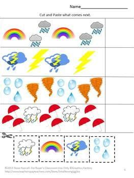 weather cut and paste math literacy worksheets
