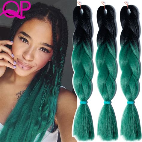ombre crochet braid hair two tone ombre kanekalon braiding hair black green