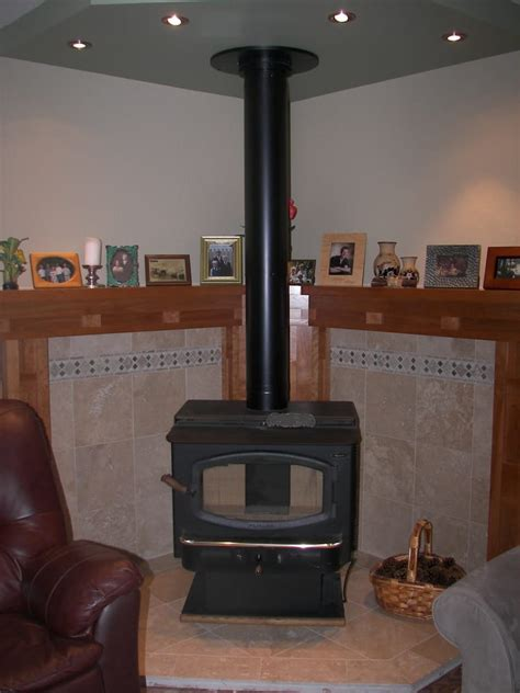 Free Standing Corner Gas Fireplace by Wood Burning Stove Insert With Travertine Tiles And Custom