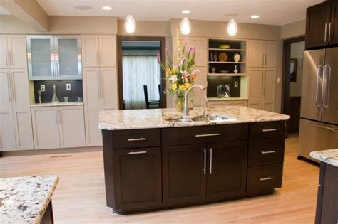 espresso cabinets with bronze hardware contemporary kitchen by carolina kitchens tubular bar