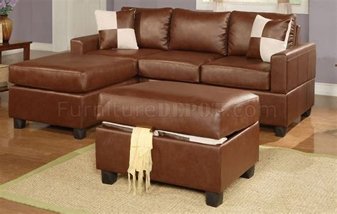 Brown Bonded Leather Contemporary Small Sectional Sofa W Small Brown Leather Sofa