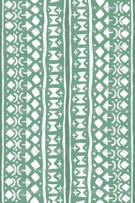 Tribal Stripes Green ditsy tribal stripe washed green fabric shi designs spoonflower
