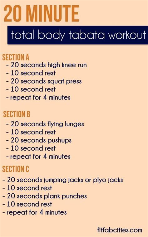 printable workout 20 minute total tabata workout
