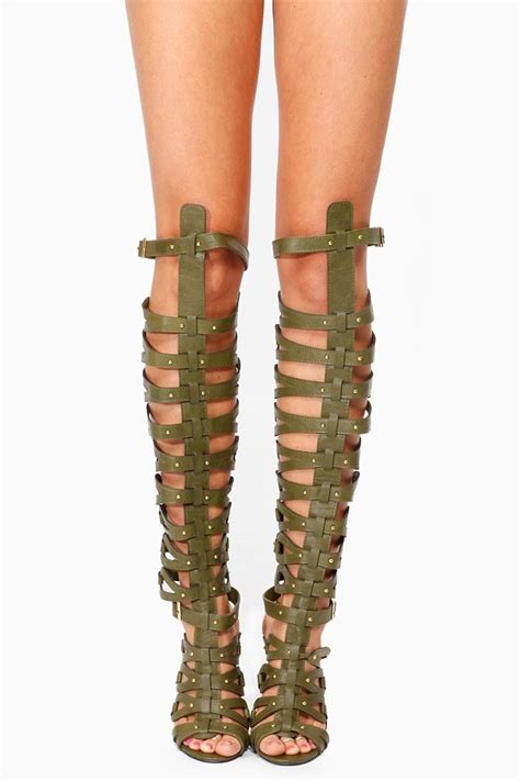 breckelles green thigh high gladiator heels