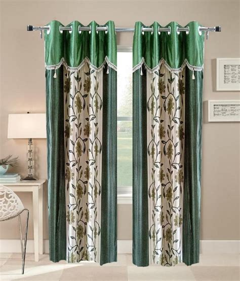 Green And Beige Curtains Inspiration Homefab India Buy 2 Get 2 Window Eyelet Curtains Floral Beige Green Buy Homefab India Buy 2