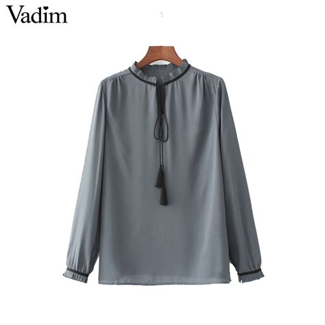 Blouse Branded Sweetjourney vadim sweet ruffles chiffon shirts sleeve bow tie stand collar office work