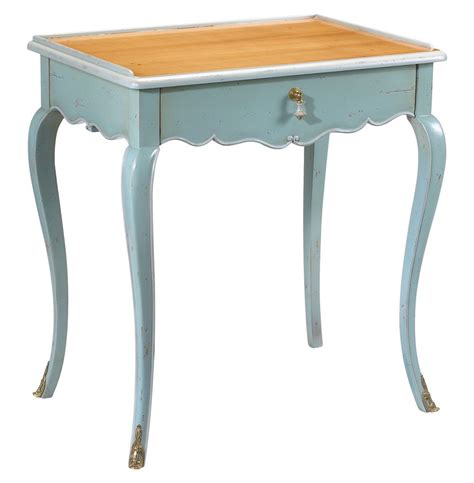 Blue Side Table Sade Country Cherry Wood Light Blue Side End Table Kathy Kuo Home