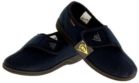 slippers for elderly mens dunlop orthopaedic velcro adjustable blue elderly