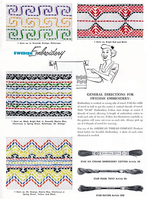 crafts and more more swedish huck weaving embroidery patterns vintage