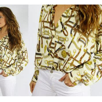 Gold Chain Casual Blouse Motif gold chain print blouse blouse with