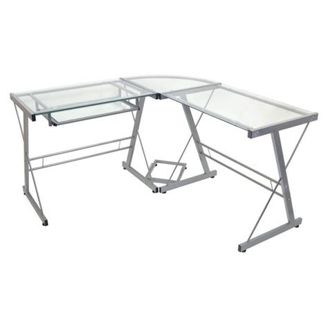 Walker Edison L Shaped Glass Top Computer Desk In Silver L Shaped Glass Top Desk