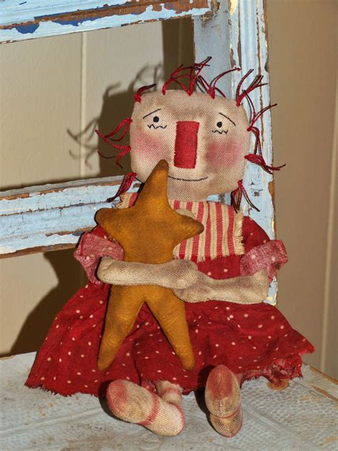 Handmade Primitive Dolls - handmade primitive raggedy rag doll with prim