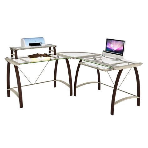 Z Line Designs Kayden Corner Desk With Hutch Espresso With Glass Desk Corner