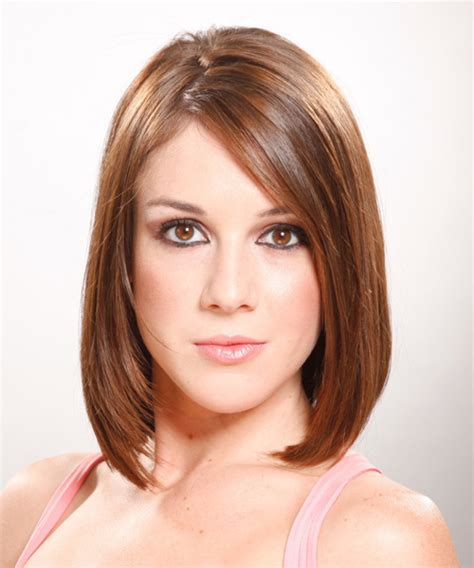 medium straight formal hairstyle auburn hair color
