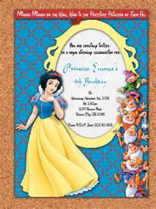 printable invitation snow white and the seven dwarfs princess snow white birthday invite 5x7