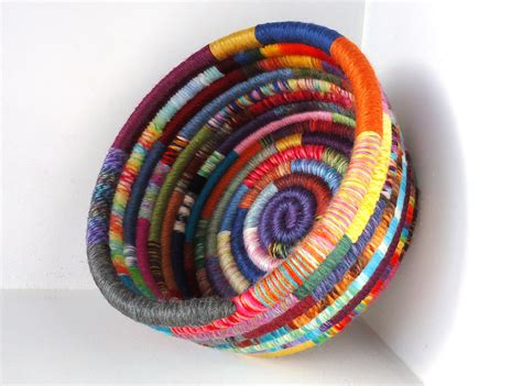 Handmade Yarn - handmade basket colorful yarn coiled basket multicolored