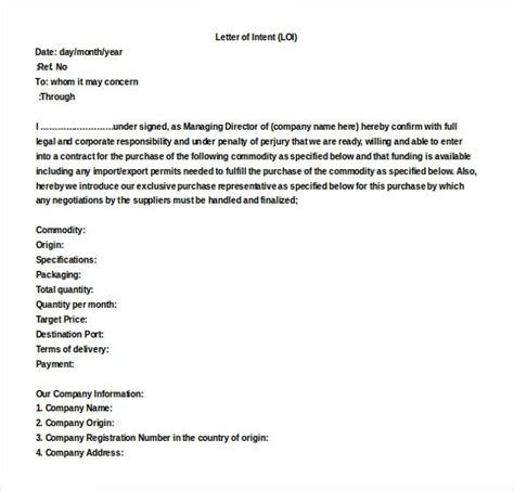word letter intent templates