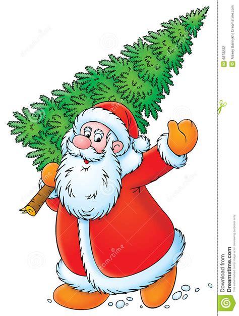 weihnachtsbaum bild weihnachtsmann mit weihnachtsbaum stockfotografie bild 6873232
