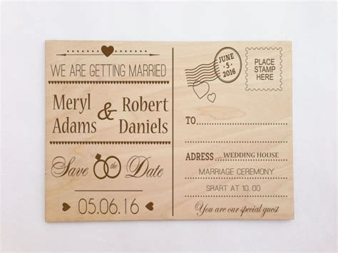 wedding invite postcards custom wooden engraved postcard wedding invitation