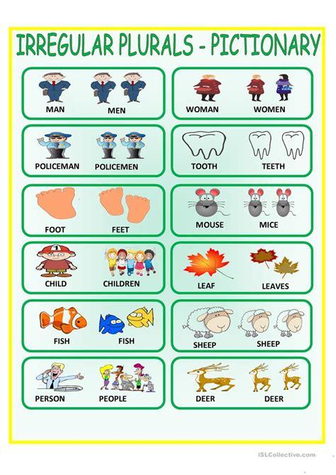 free printable noun board games irregular plurals pictionary worksheet free esl