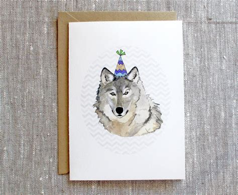 printable wolf birthday cards wolf w party hat wolf birthday card by snoogsandwilde on