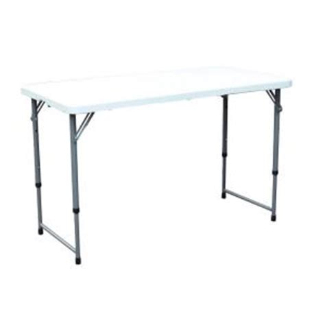 hdx 4 ft adjustable height folding table 2448f the home