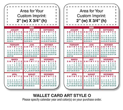 2104 calendar template wallet cards laminated