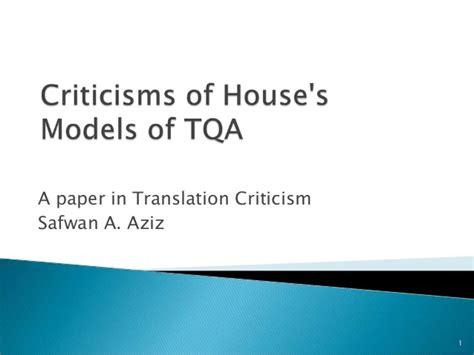 thesis on translation quality assessment criticisms of jullianne house s model of translation