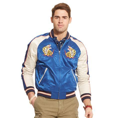Jaket Basball Merah Putih Polos 1 lyst polo ralph hawaiian tour baseball jacket in blue for
