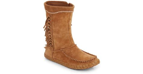 ugg hyland fringed suede moccasin boots in brown chestnut