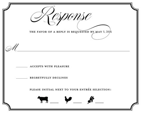 wedding rsvp menu choice template wedding rsvp wording ideas