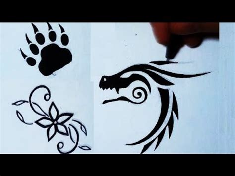 simple tattoo by pen drawing 3 simple tattoos flower bear paw dragon youtube